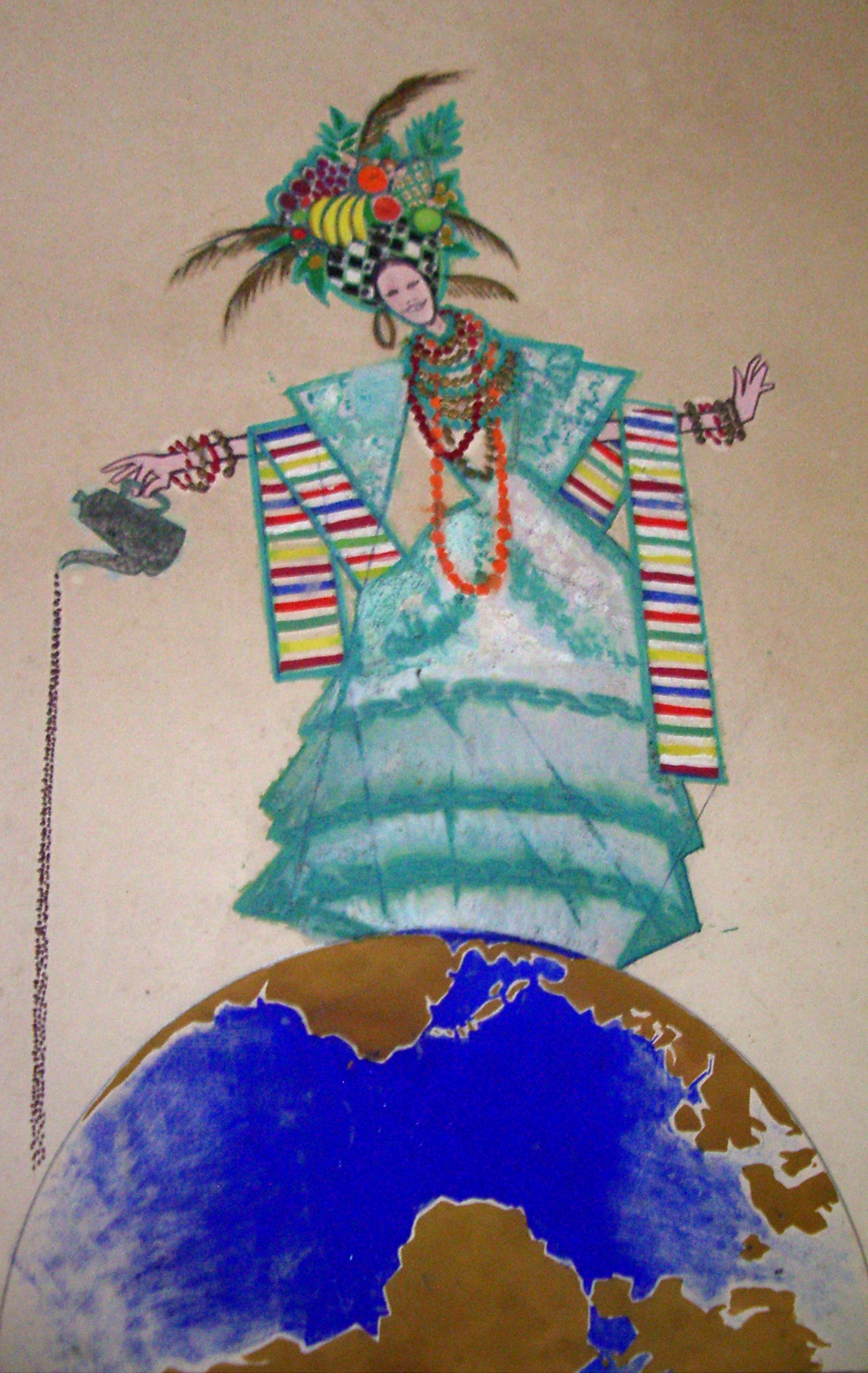 """Decoração de carnaval """"Carmem Miranda derramando café sobre o mundo a seus pés""""  realizada em 1963."""